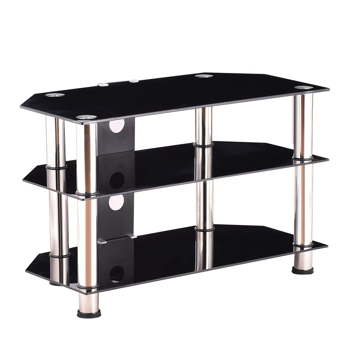 Black Tempered glass, stainless steel pipe TV Stand With Ebook