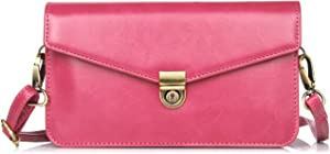 GUOQING Phone Belt Clips Leather Small Crossbody Cell Phone Purse Wallet Bag with Shoulder Strap for iPhone 6 7 8 Plus Xs Xs Max, for Samsung Galaxy S10 S7 Edge S9 S10 Plus Note 9 (Color : Magenta)