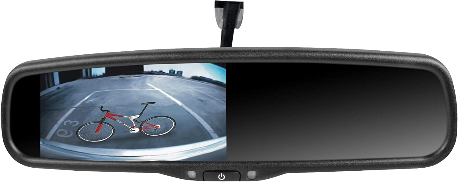 Rydeen MV433S Rearview Mirror with 4.3 Backup Monitor cm-HD3 Black Diamond NightVision Backup Camera /& BL-01 License Plate Bracket Combo