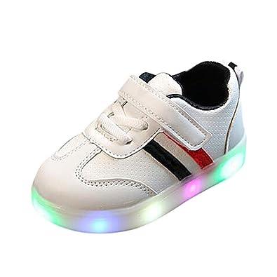 pretty nice 36a1b ef641 QinMM Bébé Rayé Chaussures LED Baskets Sport, Brillant Veilleuse Barre  Transversale Bambin Gamins Enfants Lumière