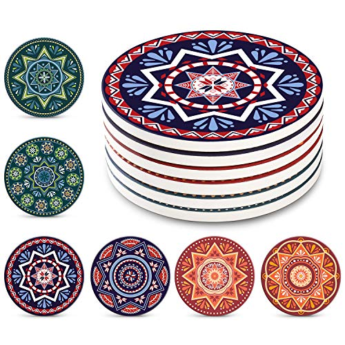 Coasters Absorbent Stone - Lifver 6-Piece Absorbent Stone Set, Drink Spills Coasters, Mandala Style, 4 inch