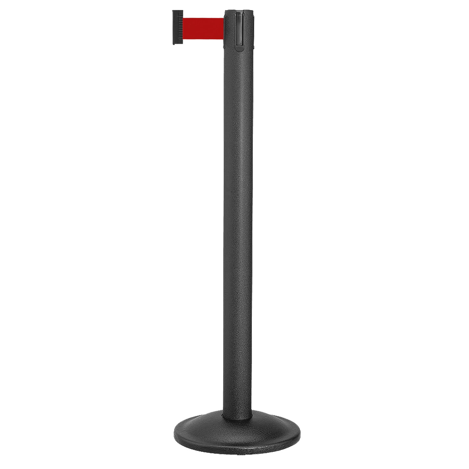 Beltrac Retractable Belt Stanchion for queue lines, Wrinkle Black Post with 7 foot Red Belt.