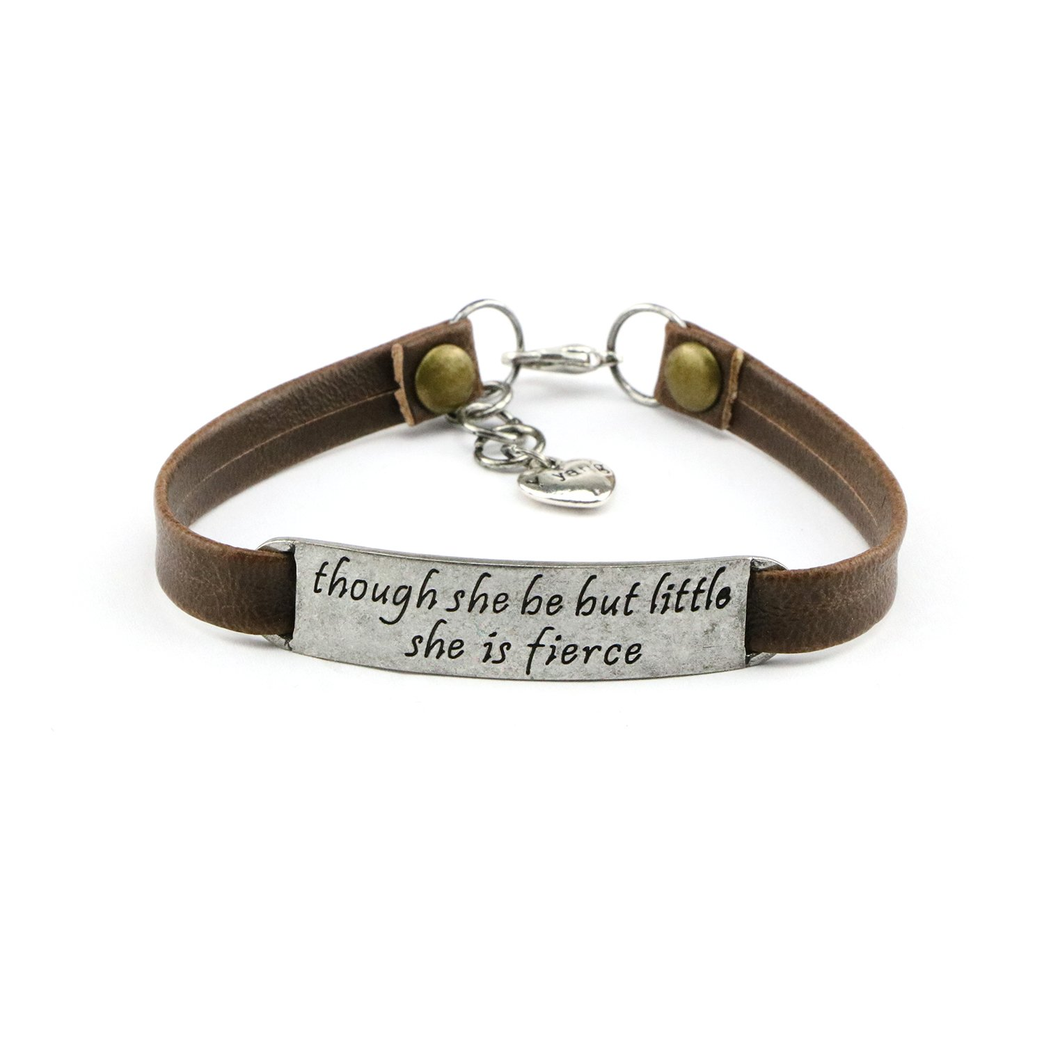 UNQJRY Girl's Bracelet Leather Jewelry Inspiraitonal Engraving Feminist Saying Though She Be But Little She is Fierce