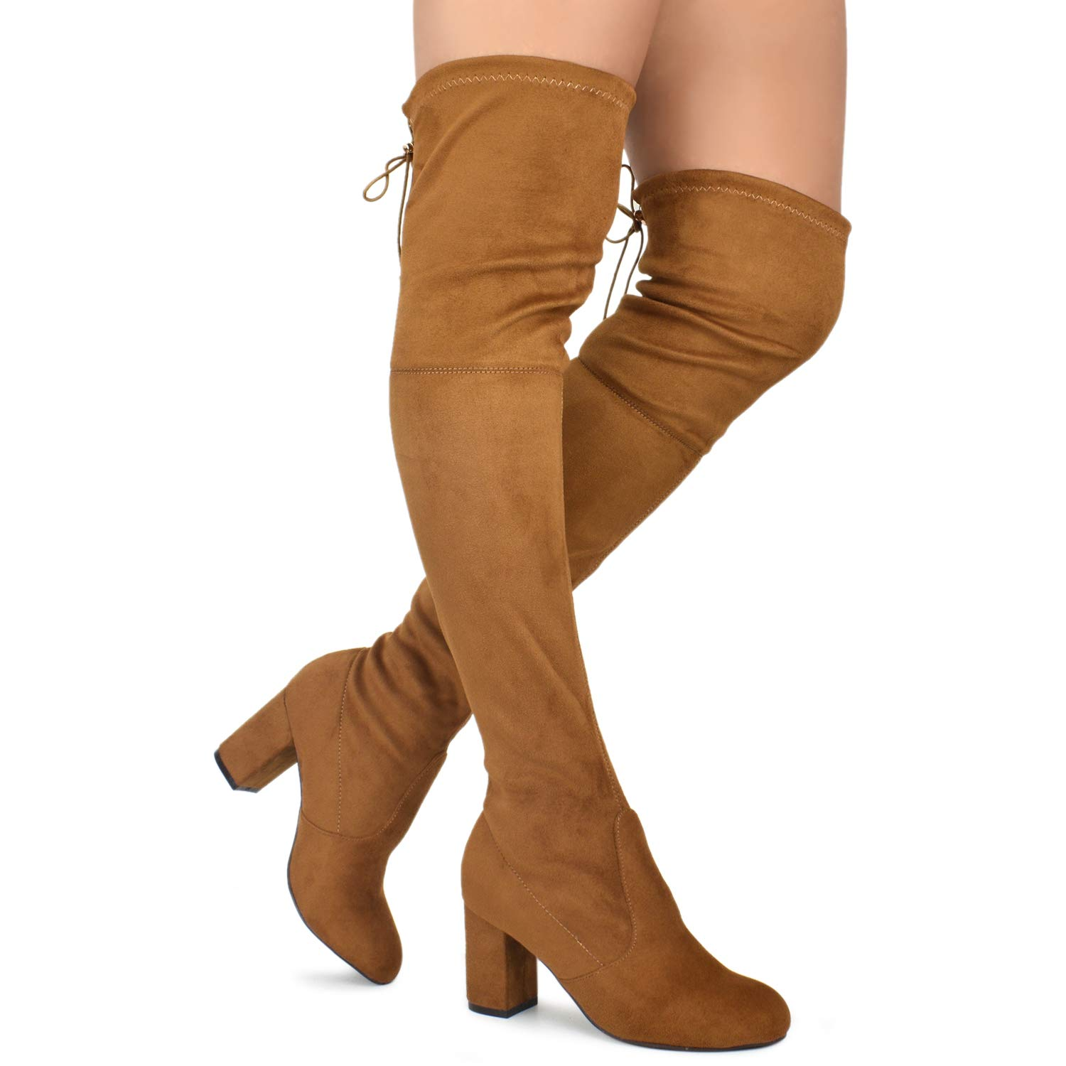 Premier Standard - Women Fashion Comfy Vegan Suede Block Heel Slip On Thigh High Over The Knee Boots