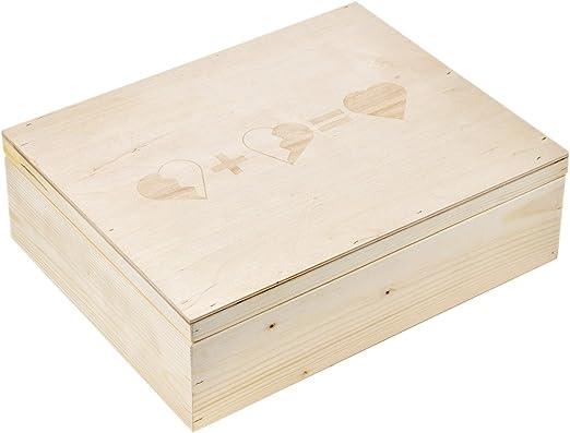 3 corazones Caja Madera Grabado, tamaño 3 Claro caja de madera ...