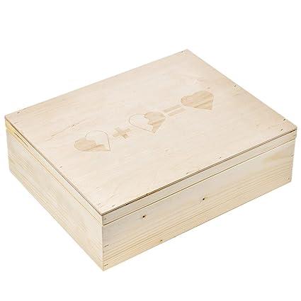 3 corazones Caja Madera Grabado, tamaño 3 Claro caja de madera madera libros Regalo de