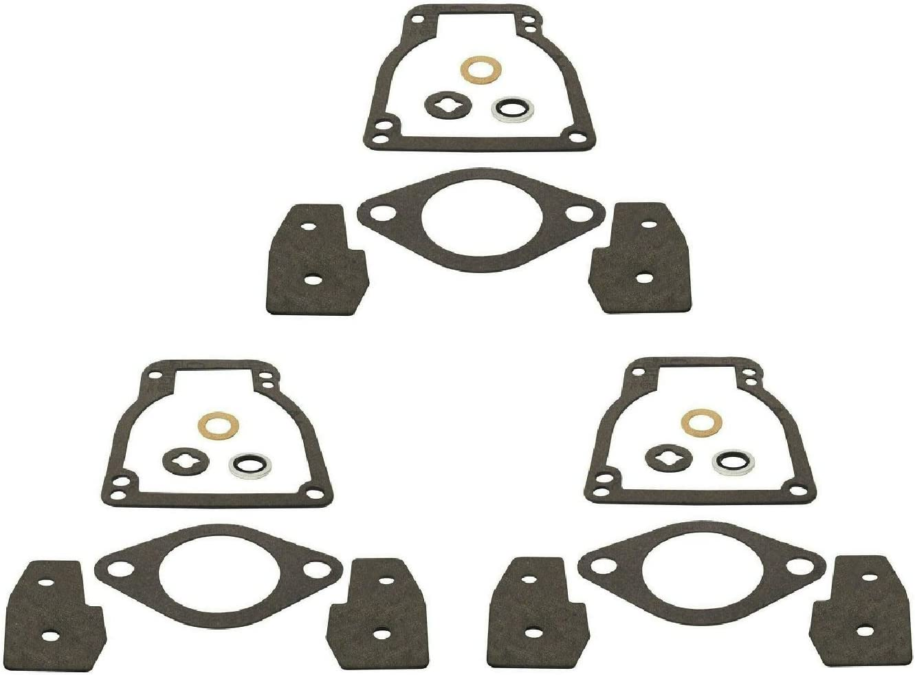 GLM (3 Pack) Carburetor Kit for Mercury Mariner 30 40 50 55 60 70 75 80 90 100 115 125 Hp WME Stamped Carburetors Replaces 18-7211 1395-811223-1 Please Read Product Description for Exact Applications