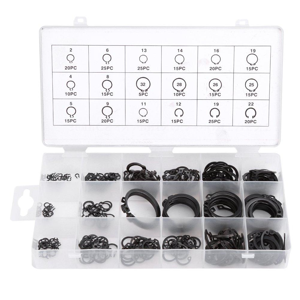 300Pcs 2-32mm E-Clip Snap Circlip Kit,Acogedor Metal Circlip External Retaining Ring Assortment Set for