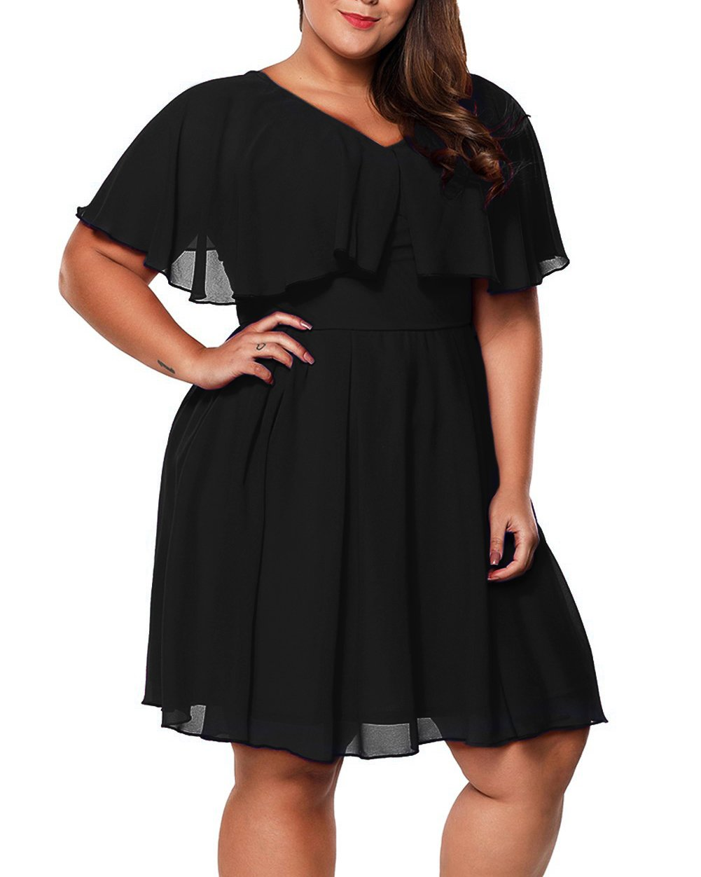 Rotita Women Ruffle Plus Size A Line Dress Sexy V Neck Pleated Fit and Flare Midi Dress