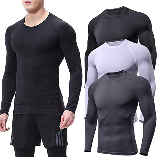 Lavento Mens Compression Shirts Baselayer Mock Long-Sleeve Dry Fit T-Shirts