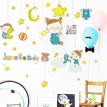 Amazon.com: Slendima Cute Baby Girl Star Moon Wall Sticker ...