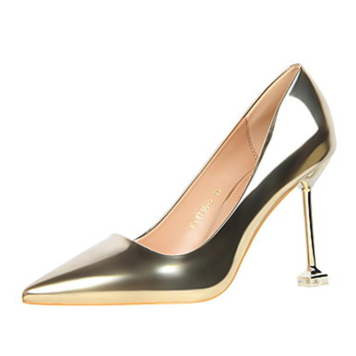 DIMAOLU Womens Shoes Leatherette Spring Fall Comfort Heels Stiletto Heel Pointed Toe for Dress Champagne Gray Silver Black Gold