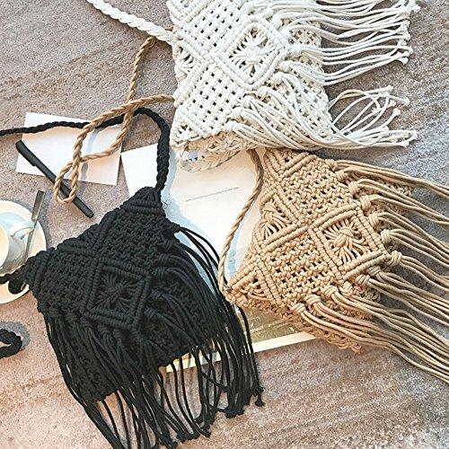 Crochet à Fringeed à Summer filles Crossbody Noir Beach Messenger bandoulière Sac Sac bandoulière Blanc Bohème pour tgHwRn