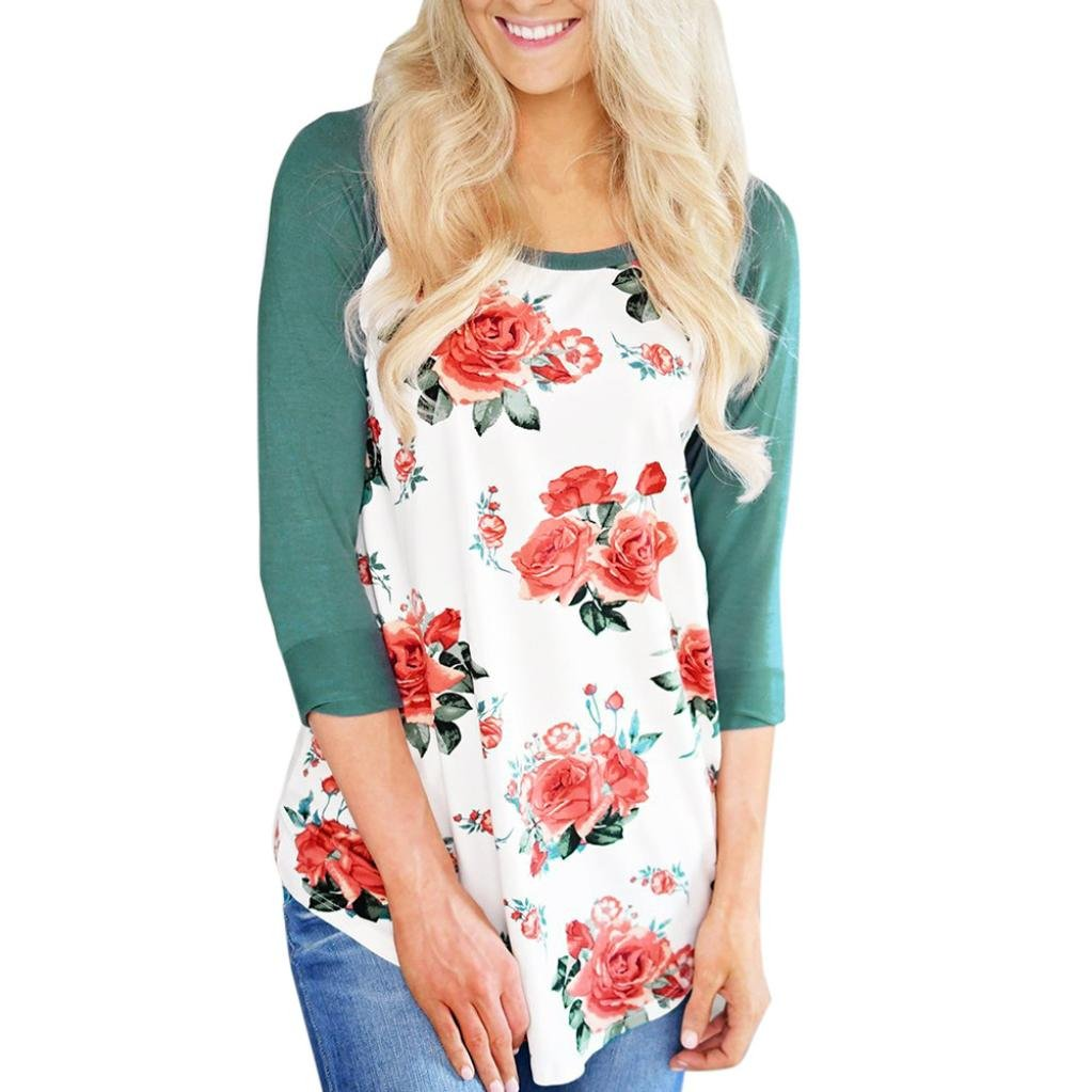 BSGSH Womens Floral Shirt Patchwork 3//4 Sleeve Casual Tunic Tops Tee