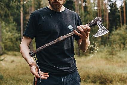 Amazon.com: Eje de combate forjado Viking de acero al ...