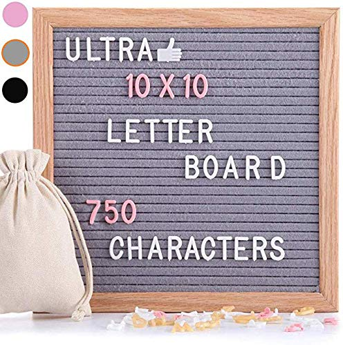 Felt Letter Board Gray 10x10 Inches with Stand, 750 PCS Changeable Letters & Lovely Emojis, Solid Oak Wood Material, Decorative Display Board Designed with Metal Hook on The Wall (Grey) (Tv Message Board)