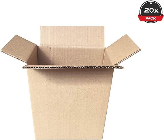 Cajeando | Pack de 20 Cajas de Cartón de Canal Simple | Tamaño 18,5 x 12,2 x 23 cm | Color Marrón | Mudanzas | Cajas Pequeñas de Almacenaje | Fabricadas en España ...