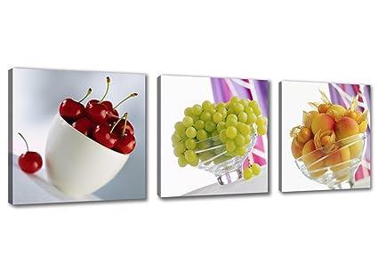 Visario 4218 - Quadro su Tela per Cucina, Motivo: Frutta, 150 x 50 cm, 3  Pezzi