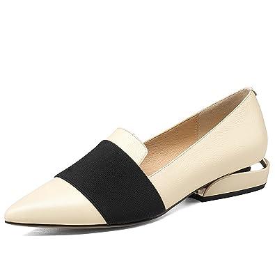 364aaa7508 Nine Seven Genuine Leather Women's Pointed Toe Flat Heel Comfortable  Handmade Flat Shoes (4.5,