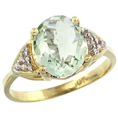 Revoni 9 Karat Gelbgold Gruner Amethyst Und Diamant Ring Oval Stein