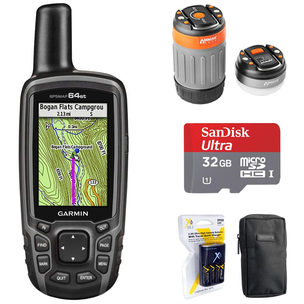 Garmin 010-01199-20 GPSMAP 64st Worldwide Handheld GPS 1 Yr. Subscription Preloaded US Map + 32GB Memory Card + LED Brite-Nite Dome Lantern Flashlight + Carrying Case + 4X AA Batteries w/Charger