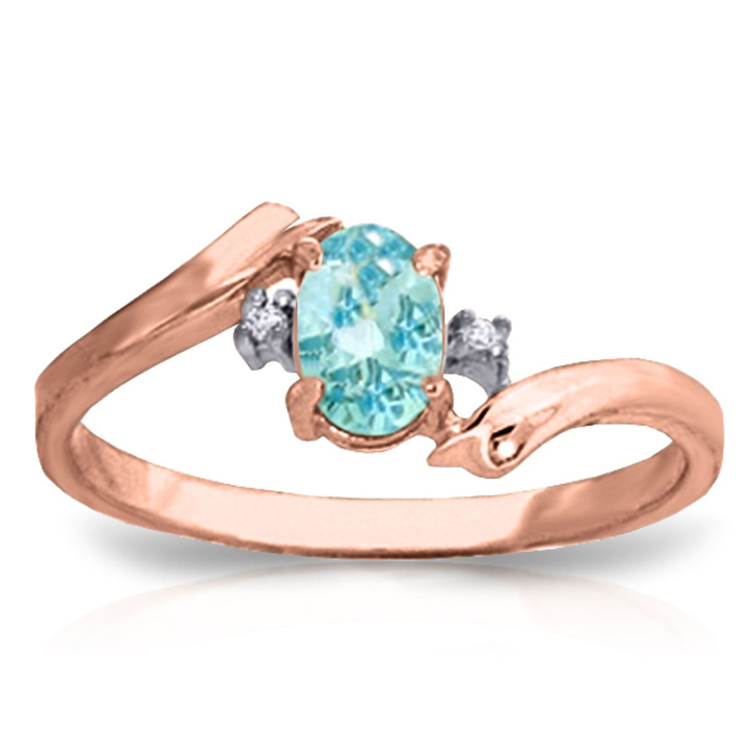 0.46 Carat 14k Solid Rose Gold Ring with Natural Diamonds and Oval-shaped Blue Topaz - Size 6.5