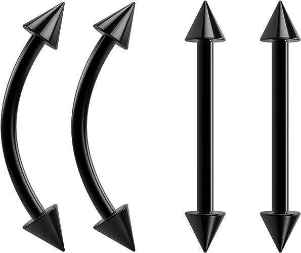4pc 16g Piercing Barbell Anti Tragus Earrings Lip Rings Stainless Steel Bars Triple Forward Helix