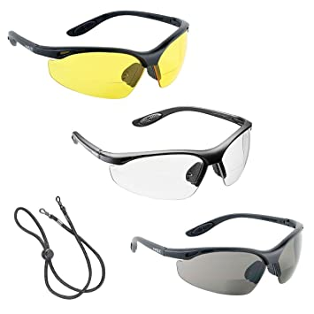 3 x voltX 'CONSTRUCTOR' BIFOKALE Schutzbrille mit Lesehilfe CE EN166F zertifiziert/Sportbrille für Radler (KLAR +1.5 Dioptrie) enthält Sicherheitsband DylXp2B1