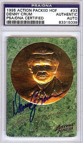 Denny Crum Signed 1995 Action Packed HOF Trading Card - Certified Genuine Autograph By PSA/DNA - Autographed NCAA College Football Card from ItsAlreadySigned4U