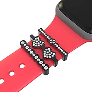Callancity 3Pcs/Sets watch band charms Metal Decorative Rings Loops Rhinestone Sparkling Diamond Rubber Strap Charms Compatible For Smart Watch Band Series 5/4/3/2/1 38mm 40mm 42mm 44mm (Black)
