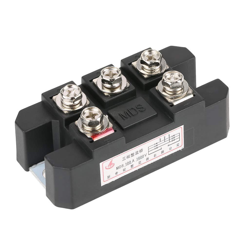 High Power 100A 1600V Three Phase Diode Bridge Rectifier MDS100A Black Three-Phase Diode Bridge Rectifier
