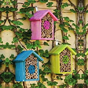 Pink Blue and Green Wood House Bee Habitats