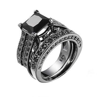 Women Rings Yukong 2 In 1 Womens Vintage Black Diamond Ring Silver