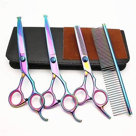 GracePainter Juego de Tijeras de peluquería Perros y Gatos, Coloridas Tijeras para Mascotas, Juego