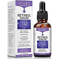 kizenka Suero de retinol con ácido hialurónico y vitamina C, suero facial antiarrugas antiarrugas, formulado para reducir las arrugas, atenuar las manchas oscuras y tratar debajo, 30 ml