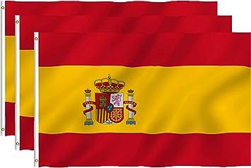 Hollylife Paquete de 3 Banderas Grandes de España, 150 x 90 cm, Anti UV y Viento, con 2 Ollados Laterales Izquieras, para Asta de Bandera Festivales Procesión Jardín Exterior: Amazon.es: Jardín