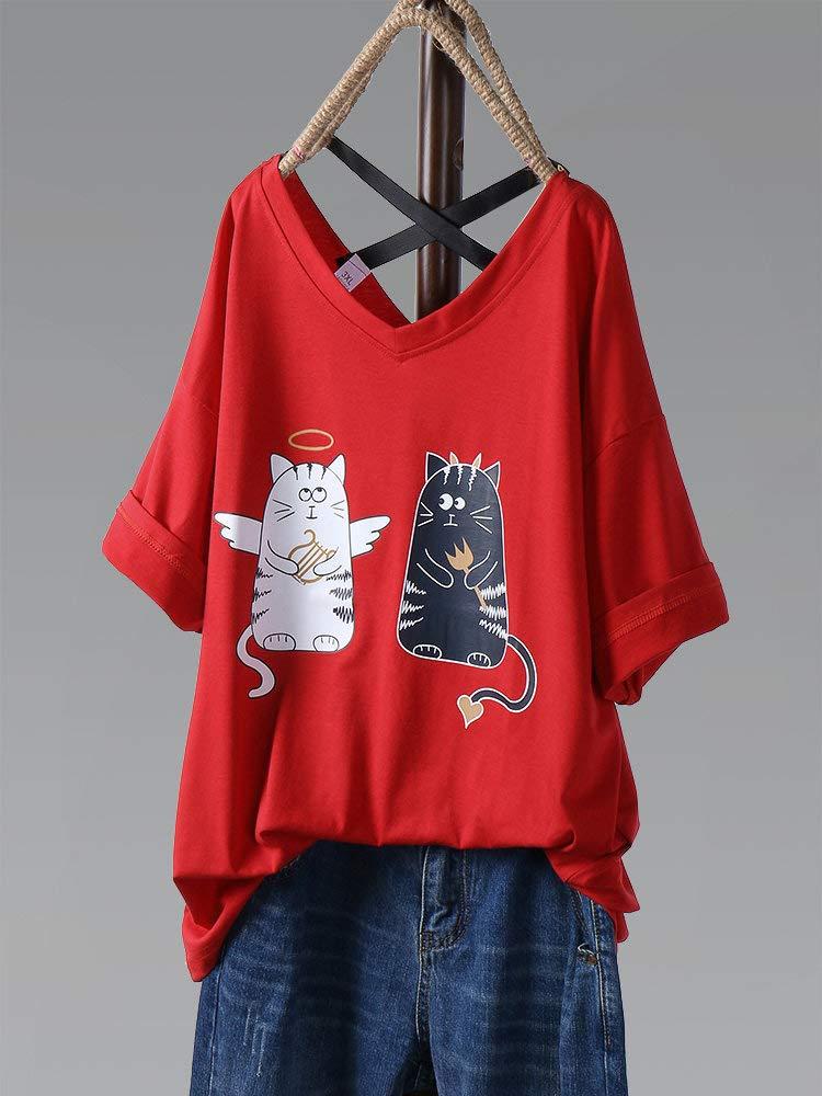 Eaglers Casual Cartoon Print Cat Half Sleeve V-Neck Loose T-Shirt