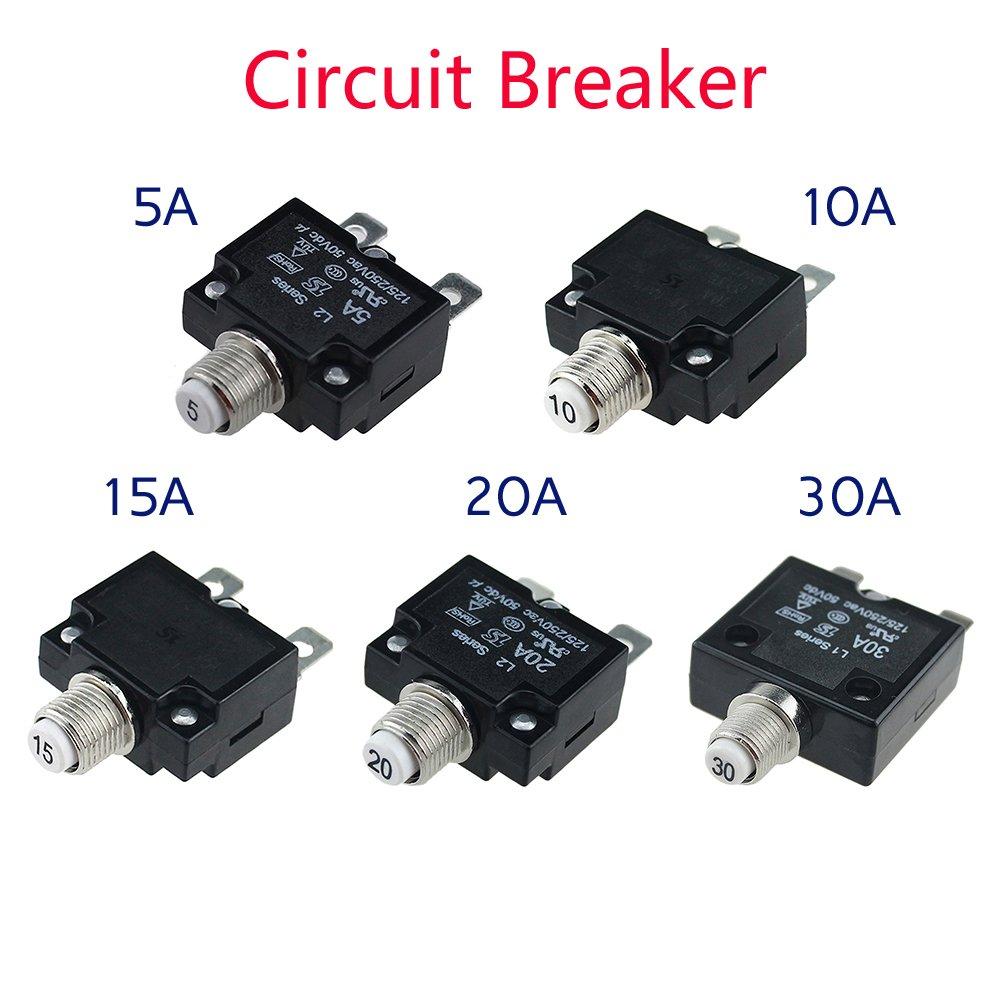 reinicio manual DC 50V AC 125-250V interruptor de circuito t/érmico Interruptores de circuito 5A//10A//15A//20A//30Amp con bot/ón de reinicio manual resistente al agua con terminales de conexi/ón r/ápida