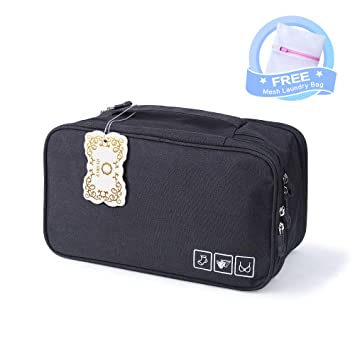 6f67f64cad29 Bra Travel Case Lingerie Storage Organizer Bags Large Capacity Multiple  Compartment, Portable...