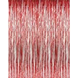 Set Of 2 Red Foil Fringe Door Window Curtain Party Decoration 3 X 8