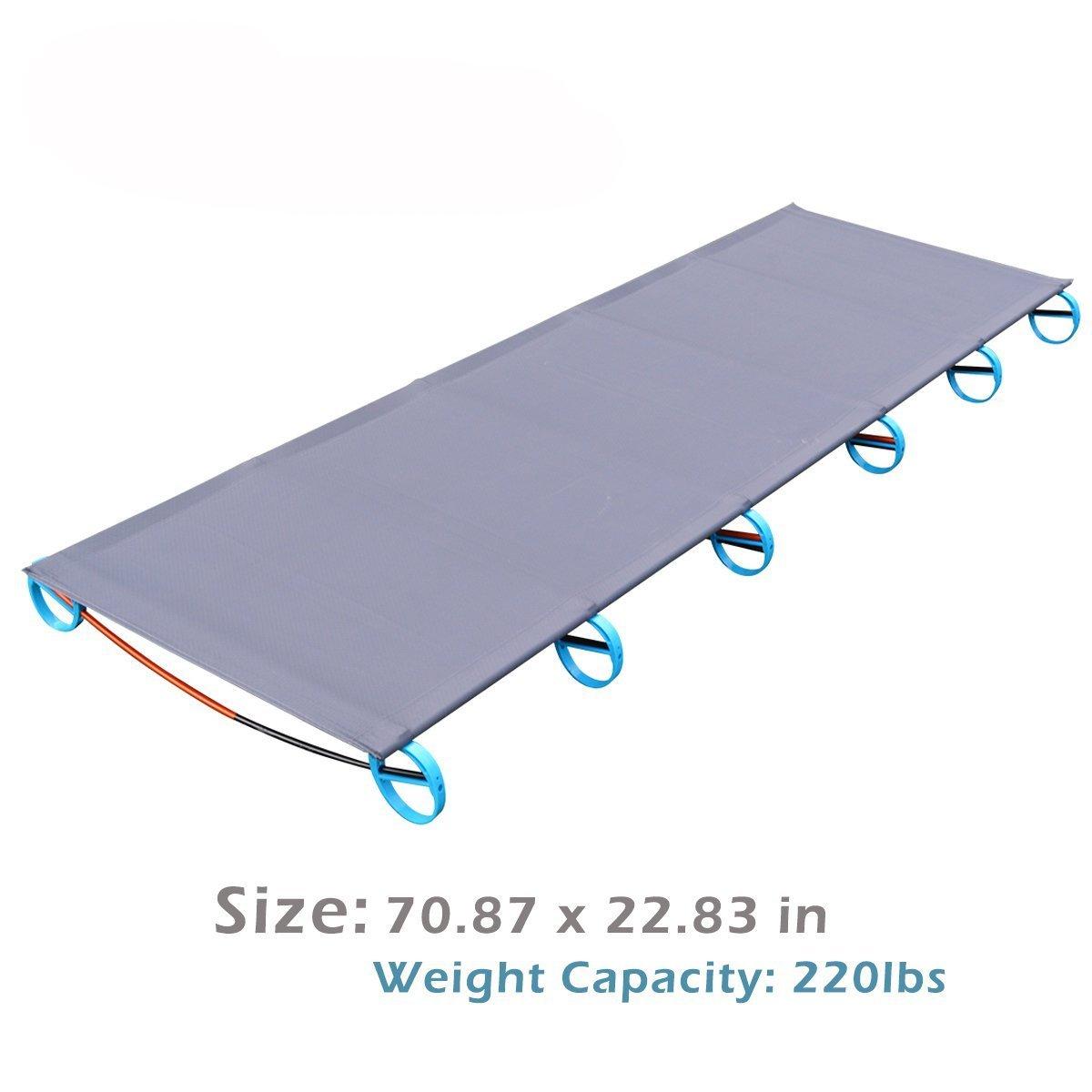 Azarxis 超軽量 折りたたみ式 キャンプベッド 防水ベッド表面 通気性 耐荷重110KG 航空アルミニウムベッドブラケット 携帯便利 B06WWKQTTD グレー グレー