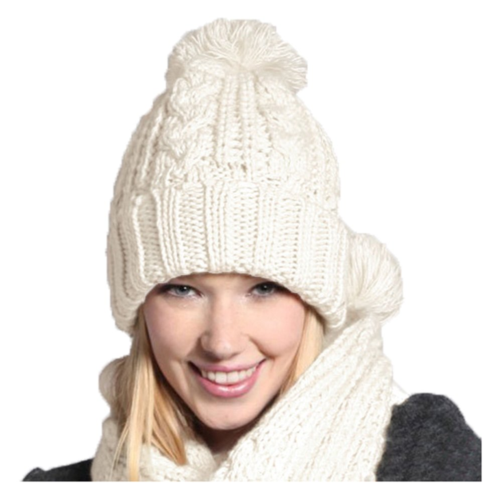Jelinda Women's Autumn Winter Warm Knitted Hat and Scarf Set (White)