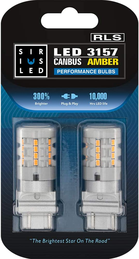 SIRIUSLED RLS 3157 4157 Built In Resistor Canbus Anti Hyper Flashing LED Turn Signal Light Bulb with Full Aluminum Body Dual Filament Smart Driver Amber Orange Color Pack of 2