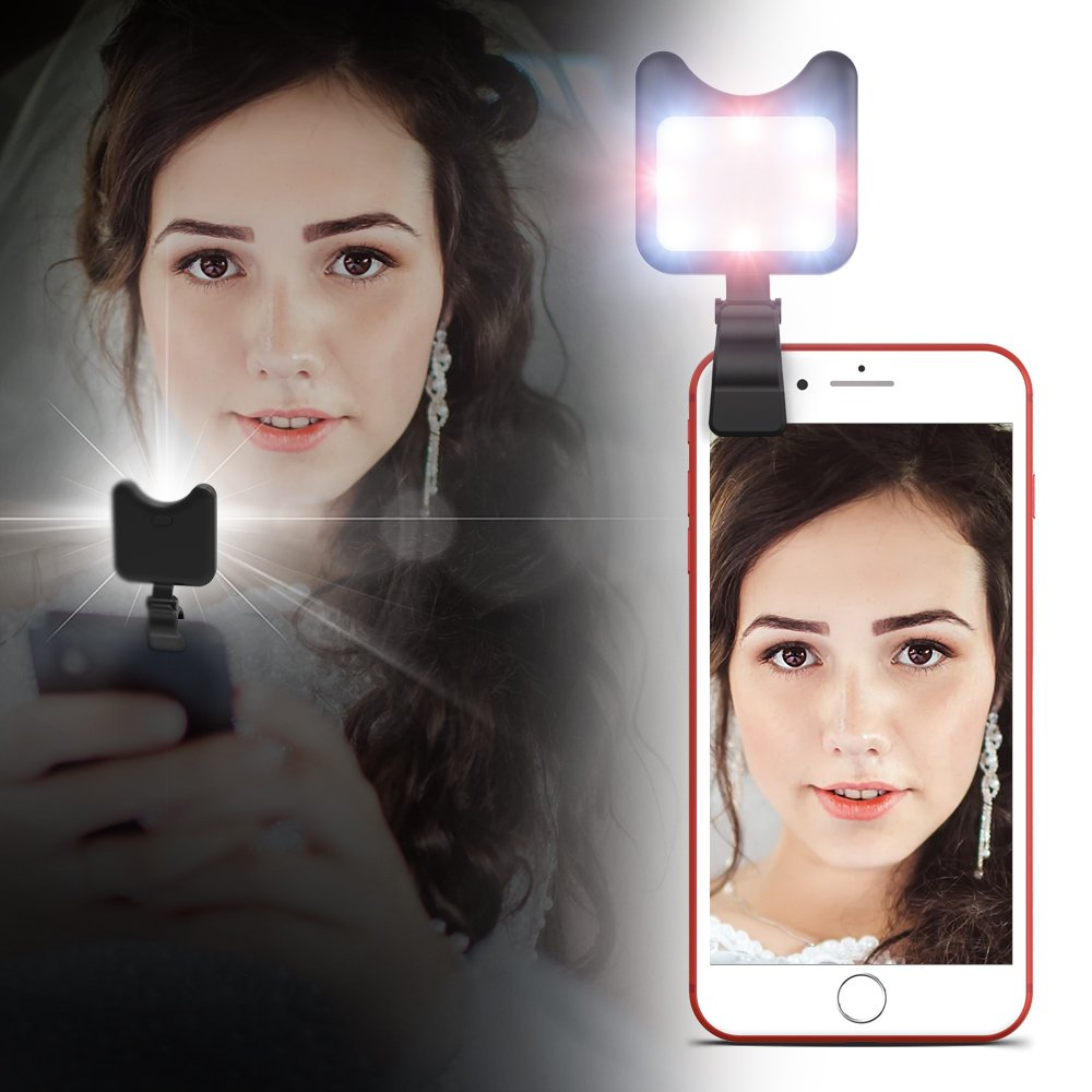 Apexel Clip On Mini Multi-function Selfie Light[Portable Dimmable Clip Lights]Selfie LED Camera Light with 9 Lighting Modes for iPhone Samsung Sony and other Smart Phones and Tabletes,Black