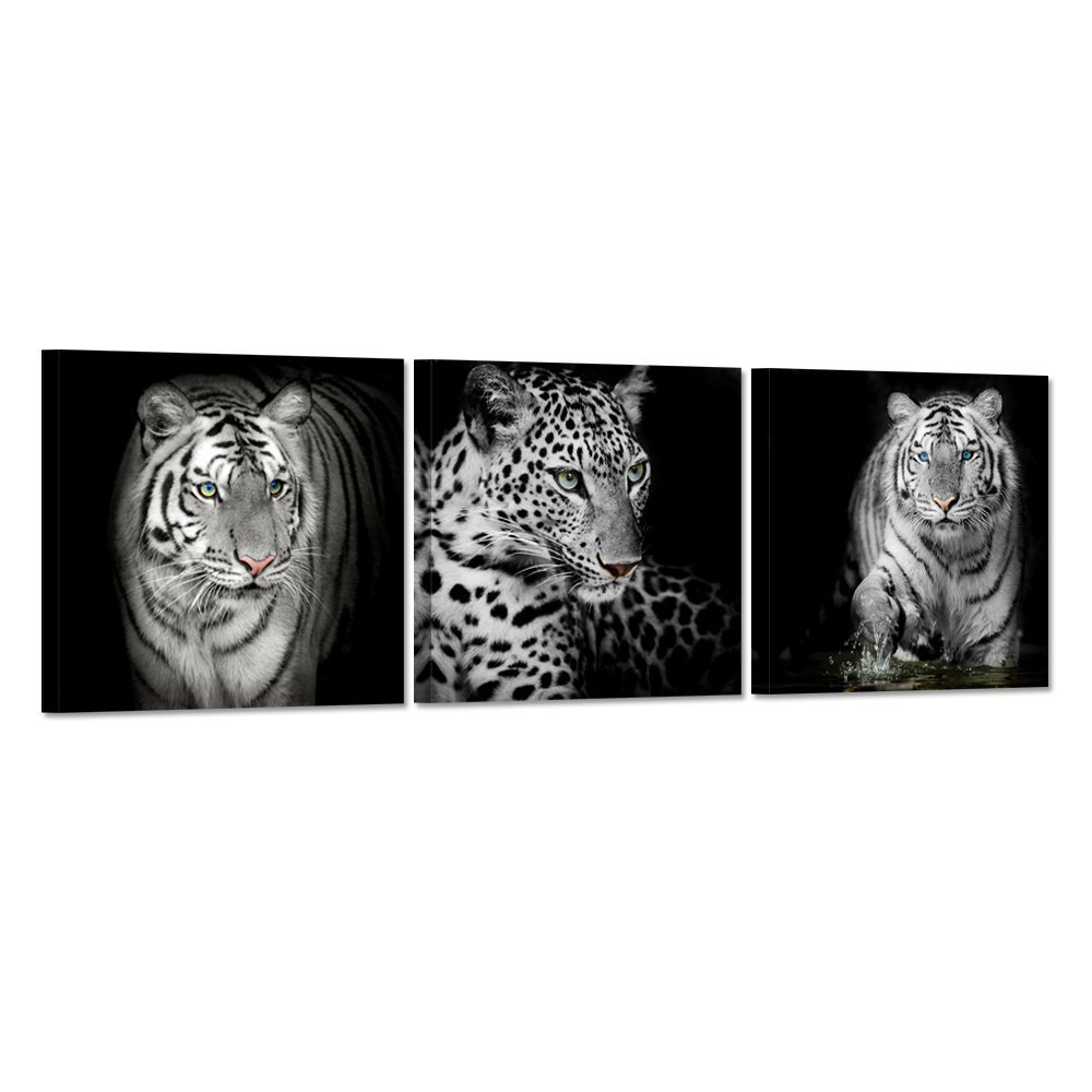 Hello artwork 3 pieces black white leopard print tiger canvas wall art print abstract animal picture painting on canvas ready to hang for living