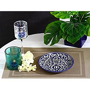 Caffeine Ceramic Handmade Blue Mughal Dinner Plate 10 inch (Set of 1)
