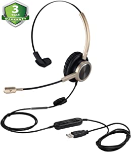 USB Headset with Microphone Noise Cancelling and Volume Controls, Computer PC Headphone with Voice Recognition Mic for Dragon Teams Zoom Skype Lync Softphones Conference Calls Online Course and More