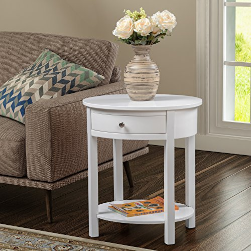 Convenience Concepts 501042W Classic Accents Cypress End Table, (Oval Wood Finish End Table)