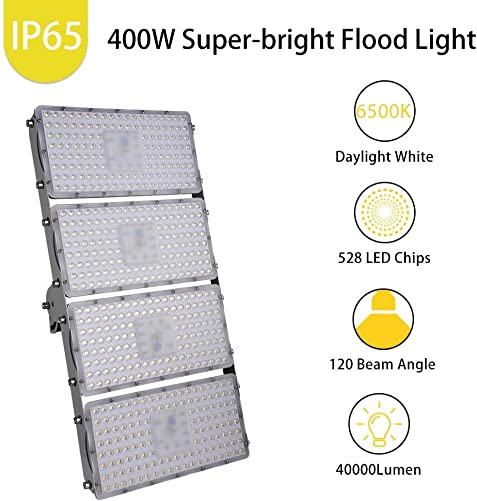 Catinbow 400W LED Flood Light, 40000LM Cold White 6500K Outdoor Work Light, 120 Beam Angle LED Spot Light with Long Distance Light, Warehouse Lighting, Commercial Lighting with CE FCC ROHS Approved