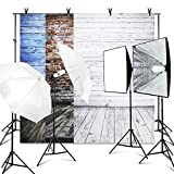 LimoStudio (8.5x10 ft.) Photo Video Studio Backdrop Support System Kit, Vintage Wood Floor Background Screen(Blue, Brick Wall, White), 800W 5500K Umbrella Softbox Continuous Lighting Kit, AGG2634_V2